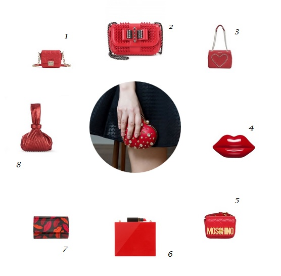 Woman in Black - Red Clutch